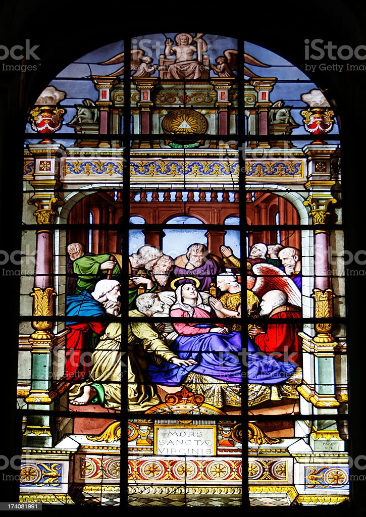 Window Death of the Virgin, Church Saint-Laurent, Paris stock photo