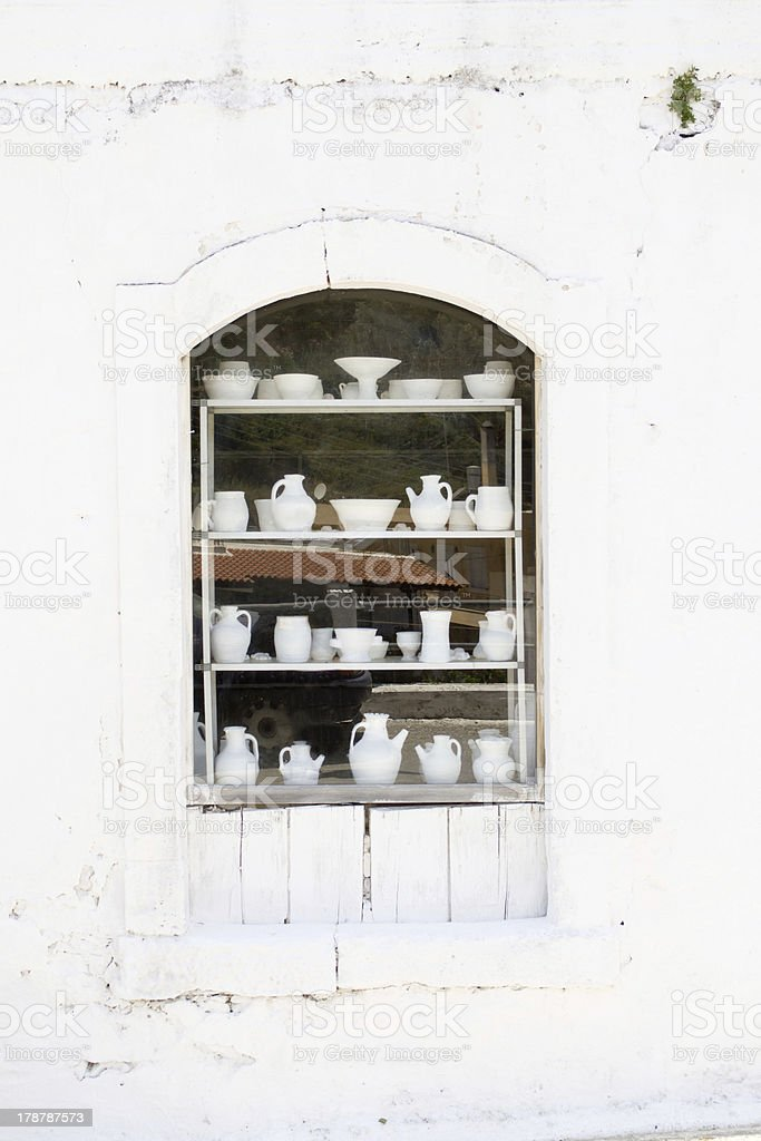 Window decorated with ceramic. royalty-free stock photo
