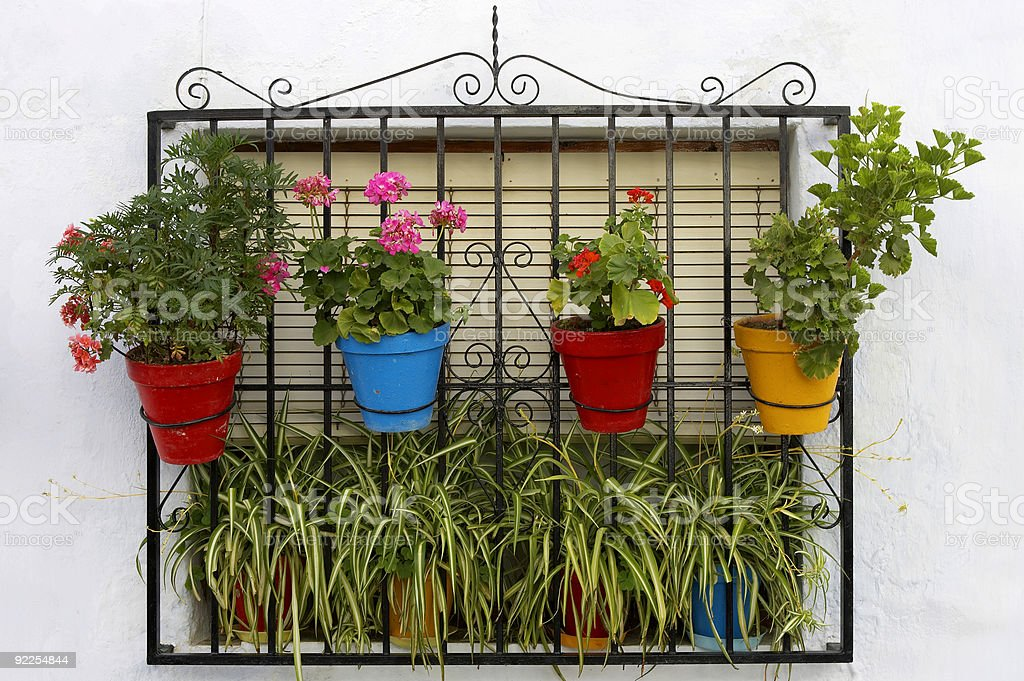 window decorated with colourful plant pots royalty-free stock photo