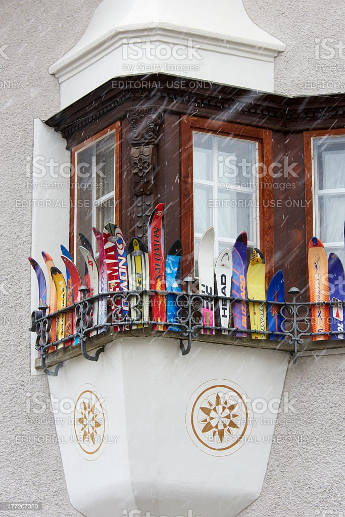 Window Decorated With Old Ski stock photo