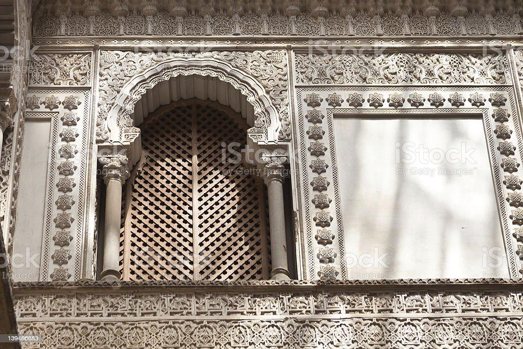 Window detail. Reales Alcazares, Sevilla royalty-free stock photo