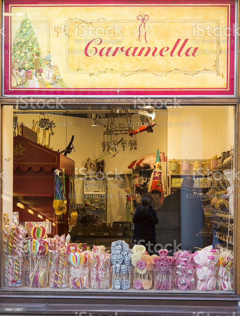 Window display in candy store. stock photo