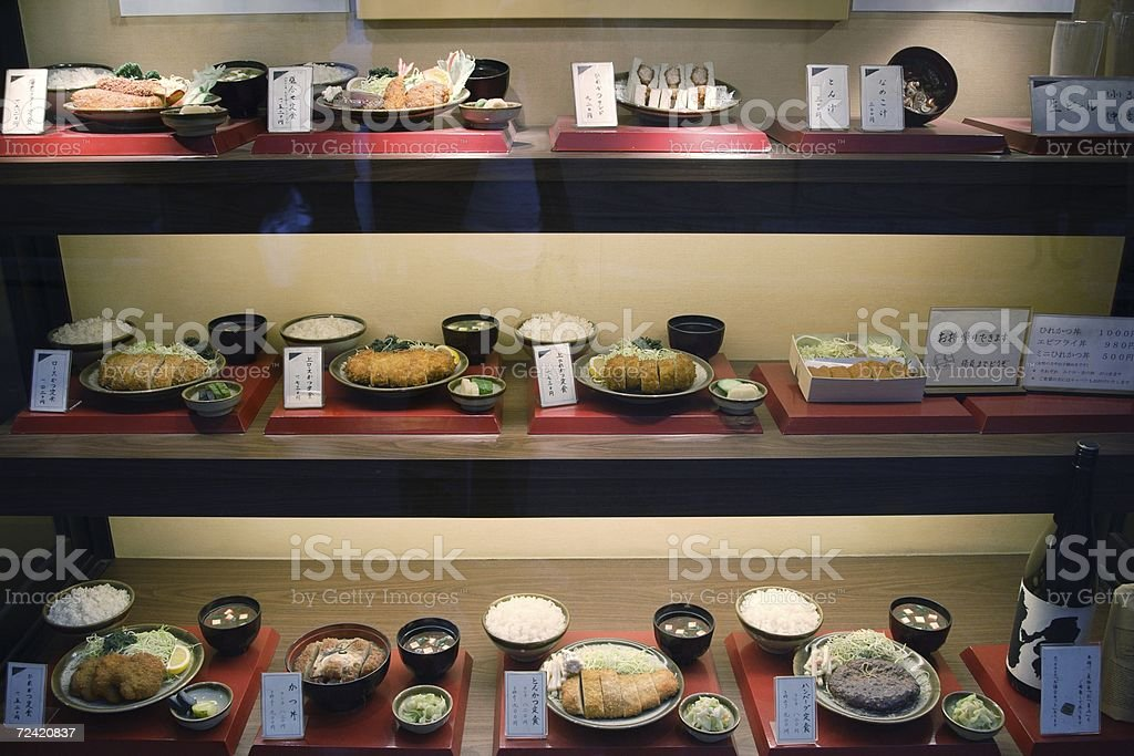 Window display of a Japanese restaurant stock photo