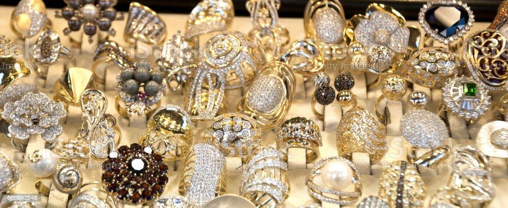 Window display of jewelry shop, macedonian old turkish bazaar in Skopje, Macedonia stock photo