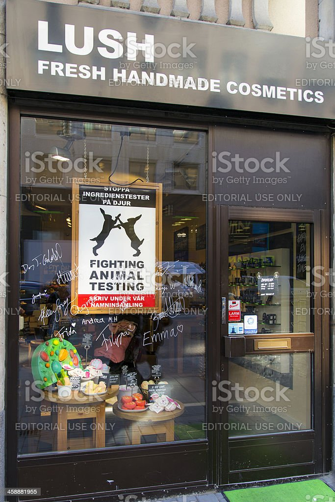 Window display of shop selling handmade cosmetics in Stockholm royalty-free stock photo