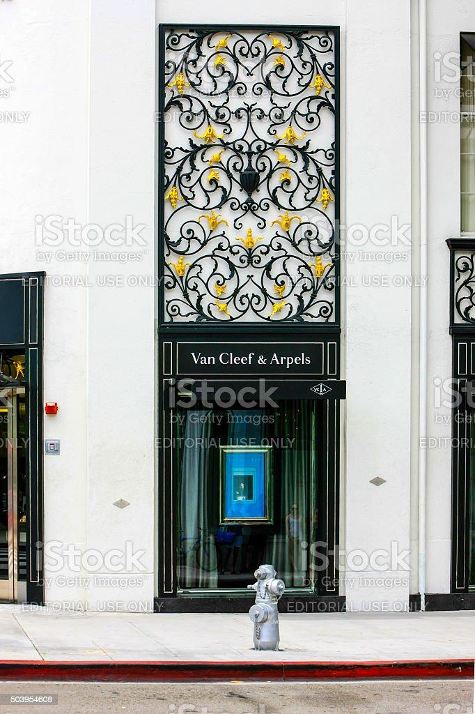 Window display outside Van Cleef & Arpels stock photo