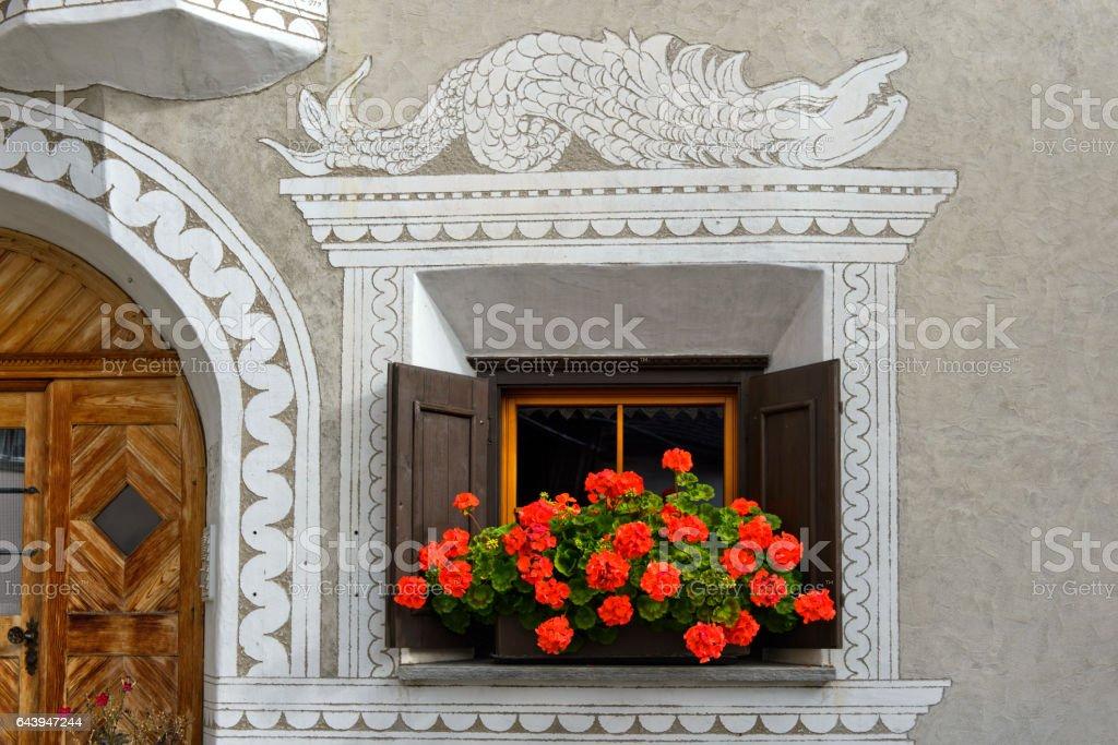 Window, Engadine house, Scuol, Engadine,Switzerland stock photo