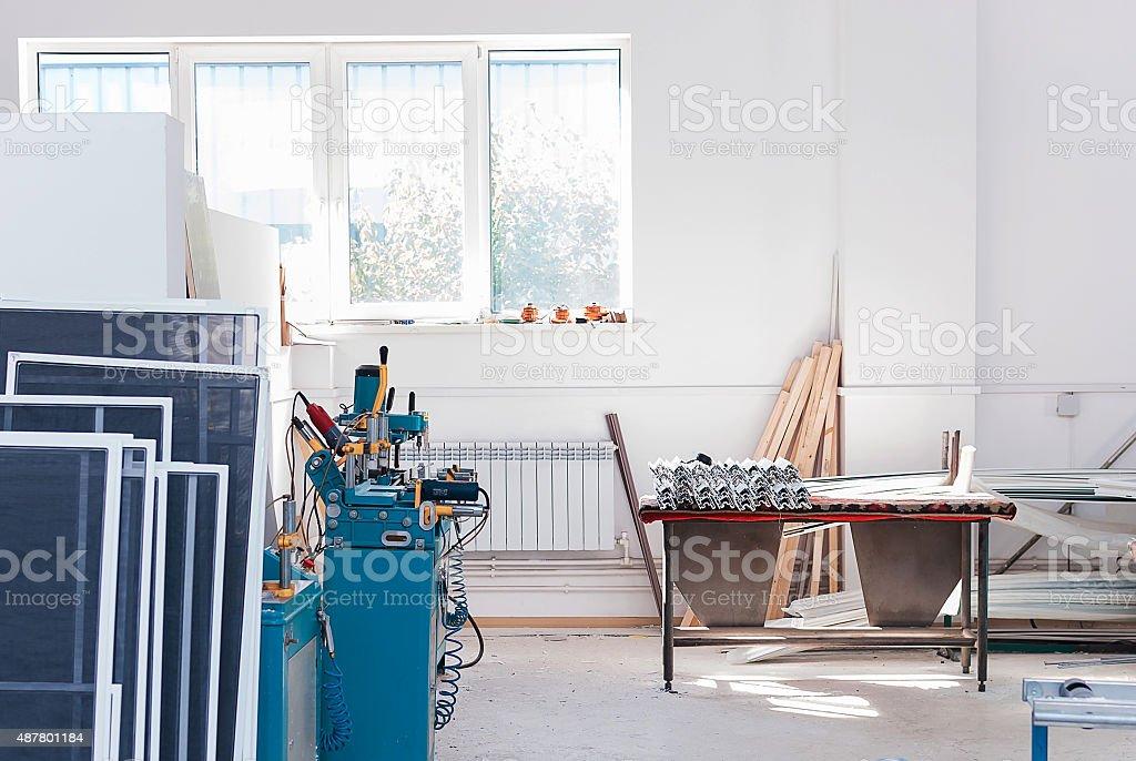 PVC Window Factory Interrior stock photo