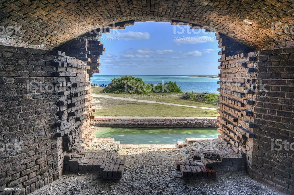 Window, Fort Jefferson at the Dry Tortugas National Park stock photo