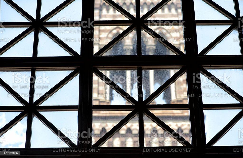 Window frame pattern in Boston Public Library stock photo