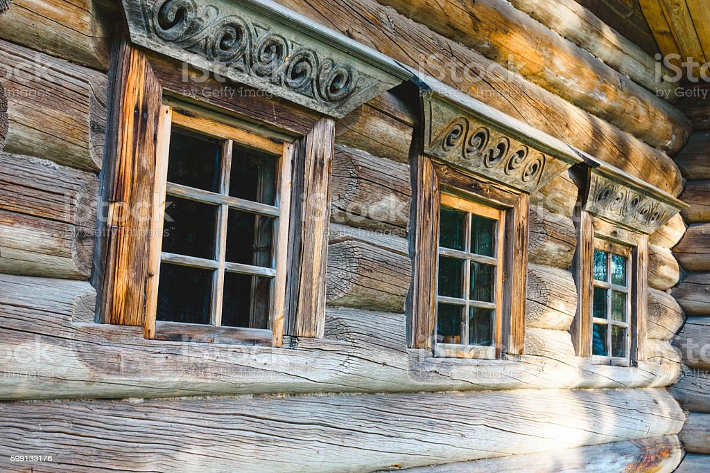 window frames old Russian house stock photo