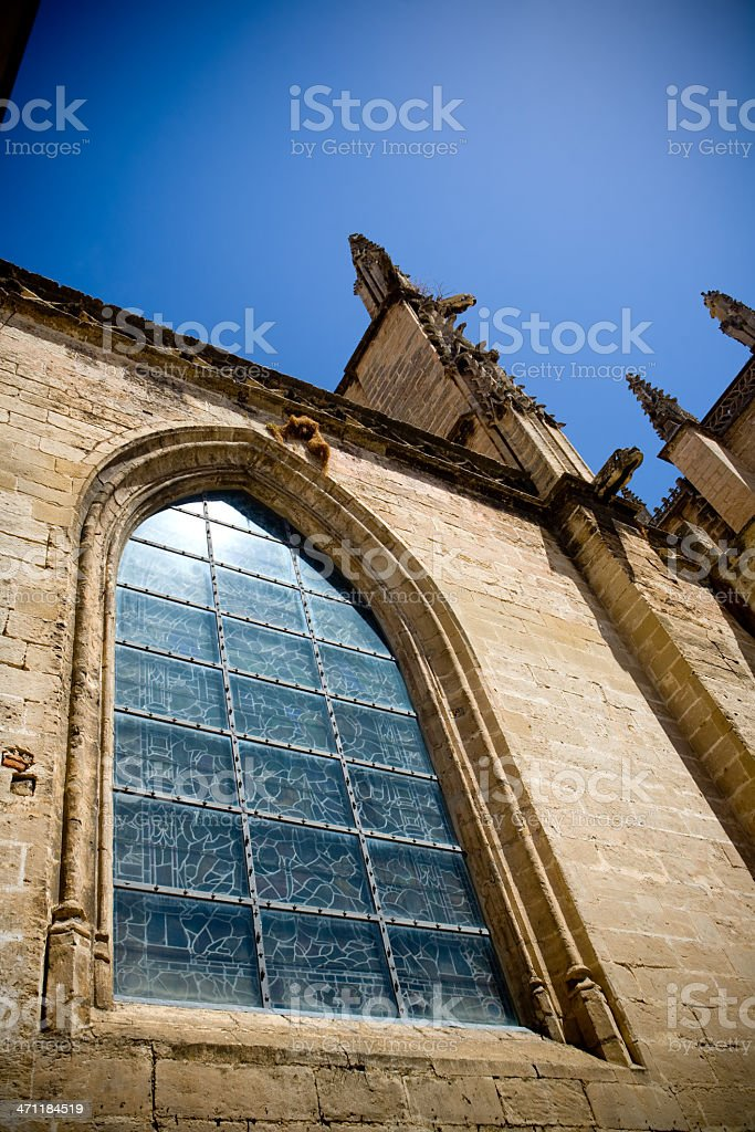 Window, gargoyle and sky royalty-free stock photo