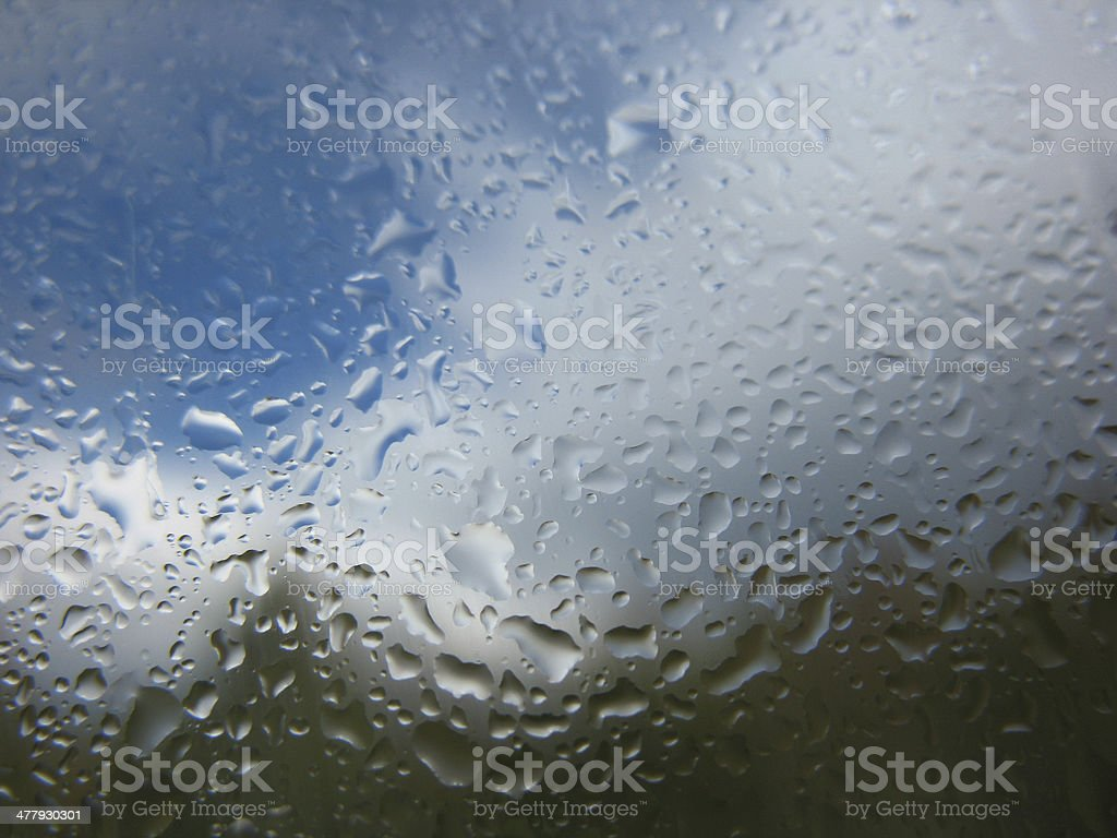 window glass and rain drops royalty-free stock photo