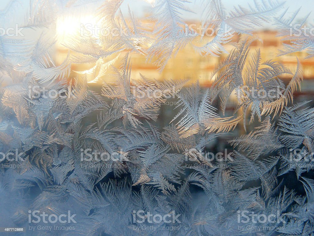 Window Glass Covered in Frost stock photo