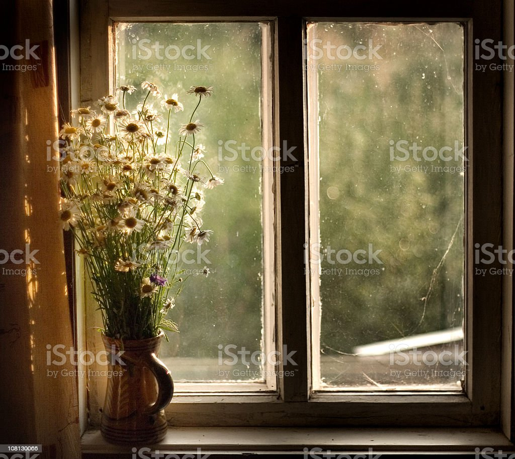Window in a country-house stock photo