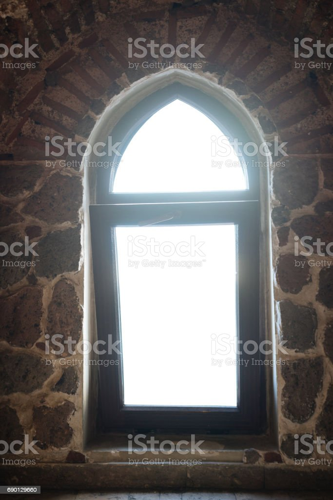 Window in a old attic stock photo