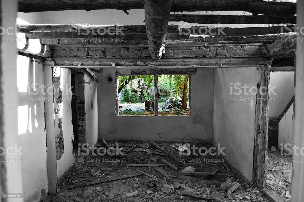Window in a Tumbledown House royalty-free stock photo