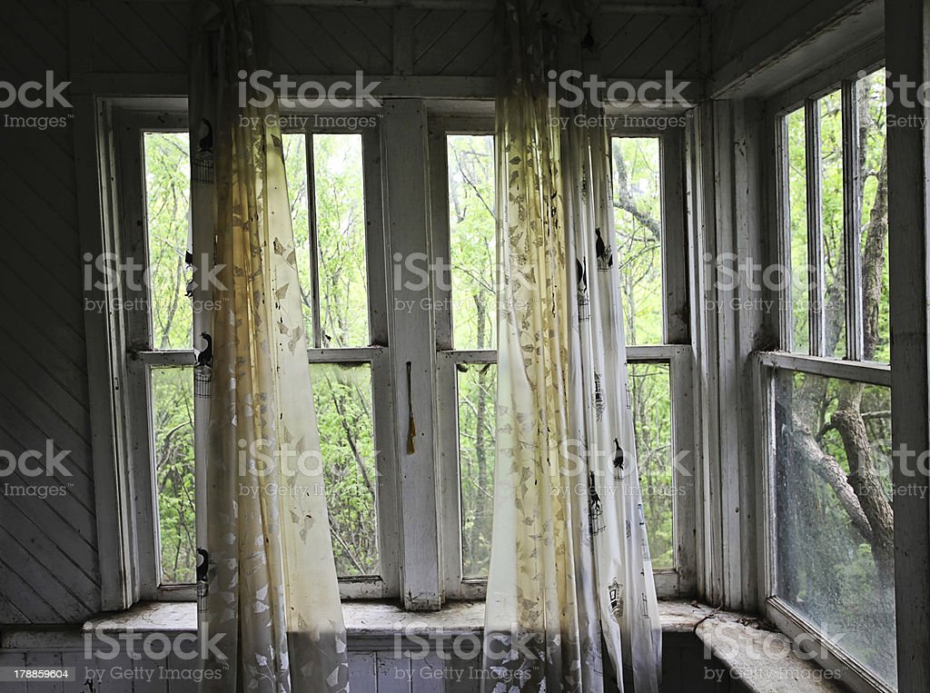 Window in abandoned house royalty-free stock photo
