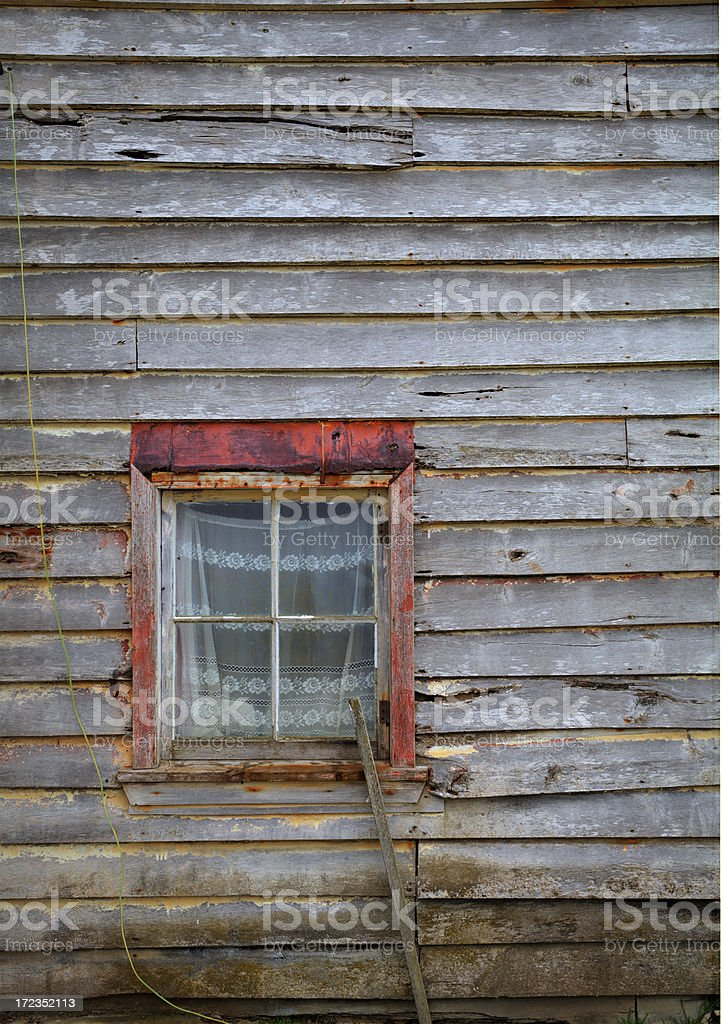 Window in an Old Wooden Farmhouse royalty-free stock photo