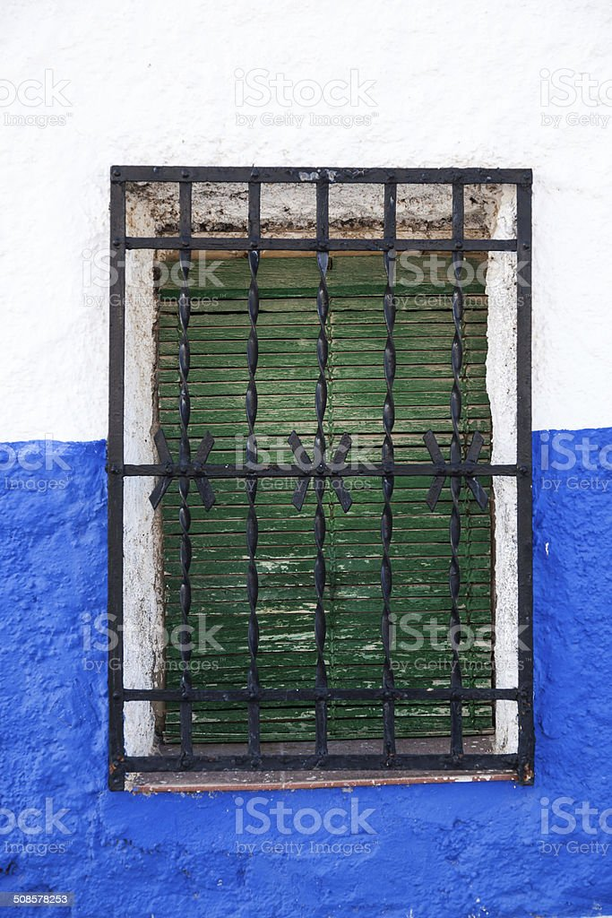 Window in Andalusian white villages in Spain stock photo