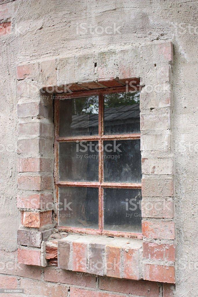Window in brick house stock photo