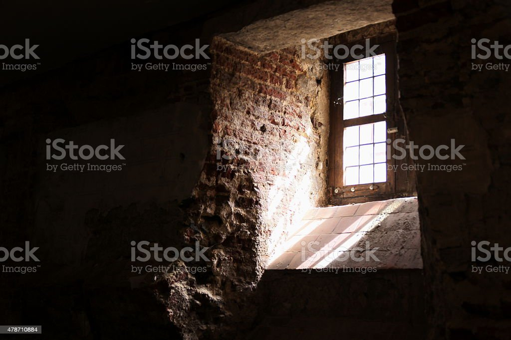 Window in cellar stock photo