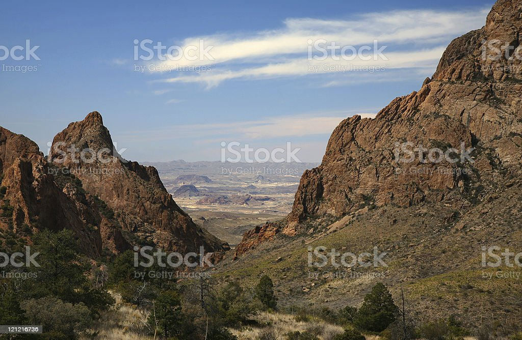Window in Chisos Basin, Big Bend National Park stock photo