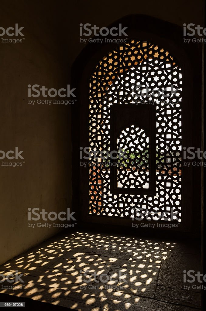 Window in Humayun's Tomb in Delhi India stock photo
