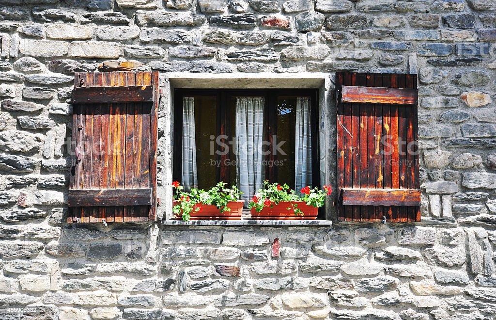 Window in italian house stock photo