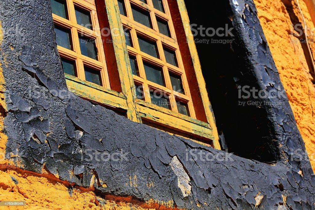 Window in Lhakhang Puk. Drak Yerpa-Tibet. 1502 stock photo