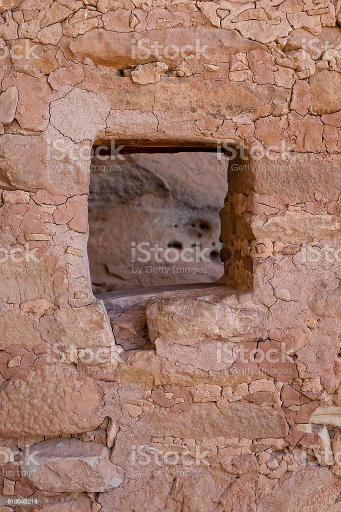 Window in Long House Ruin, Mesa Verde National Park, Colorado. stock photo