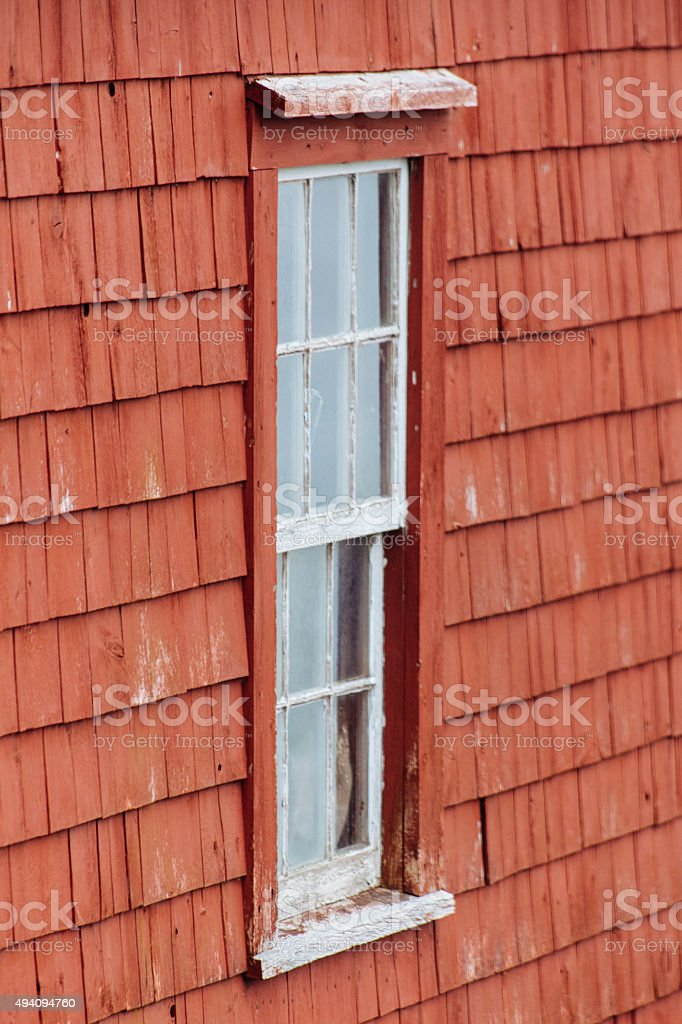 Window In Red Building stock photo