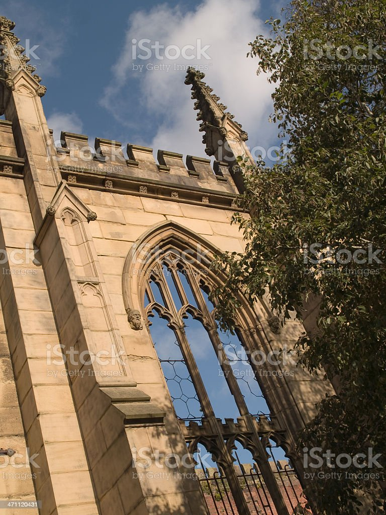 Window in St Lukes Church Liverpool stock photo