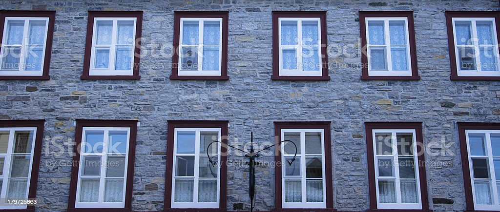 Window in stone wall, Old Quebec, Canada royalty-free stock photo
