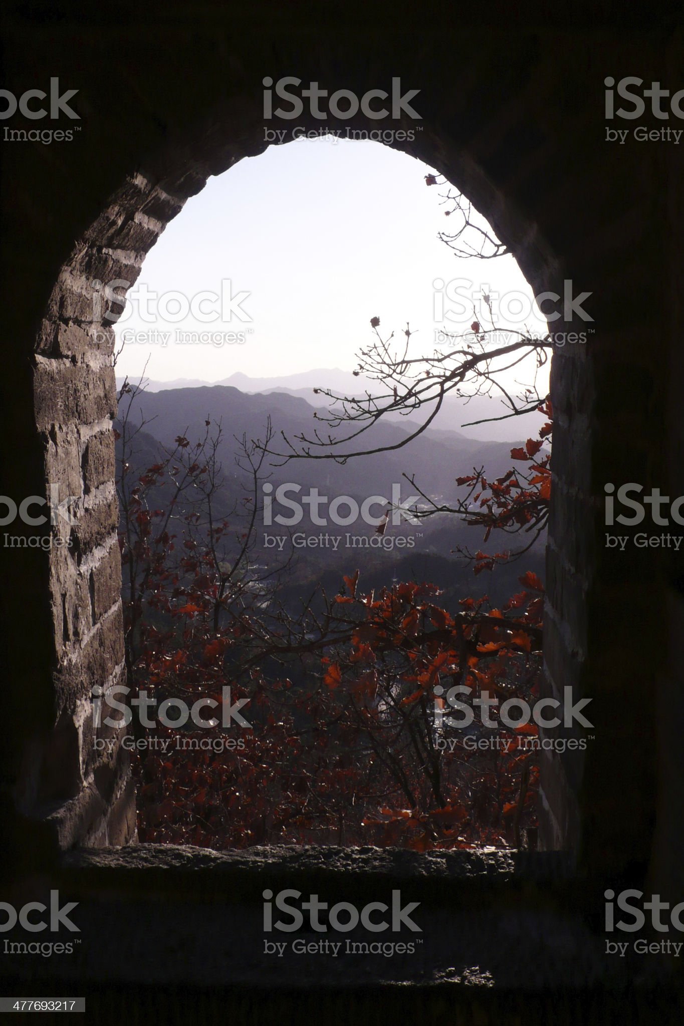 Window in the Great Wall, China royalty-free stock photo