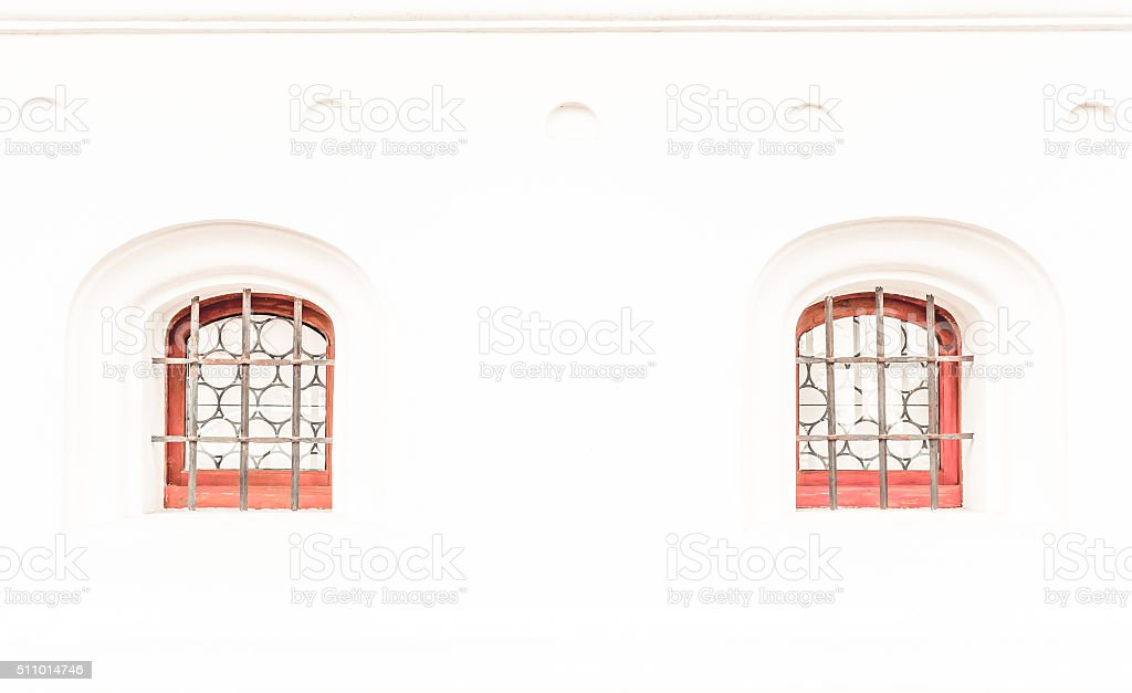 Window in the white wall stock photo