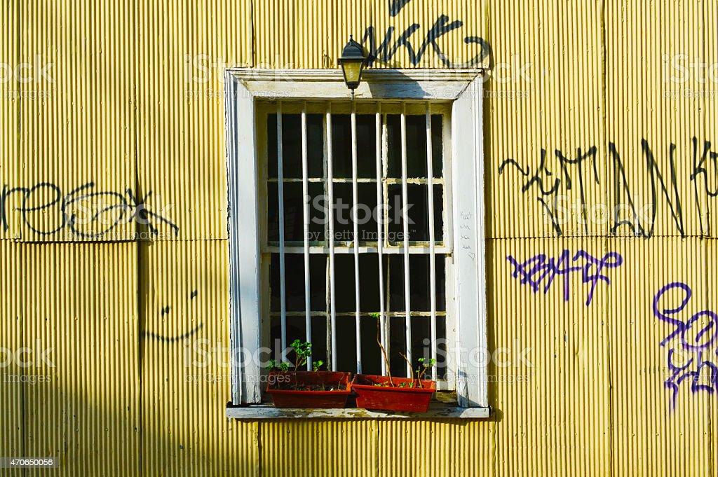 Window in valparaiso stock photo