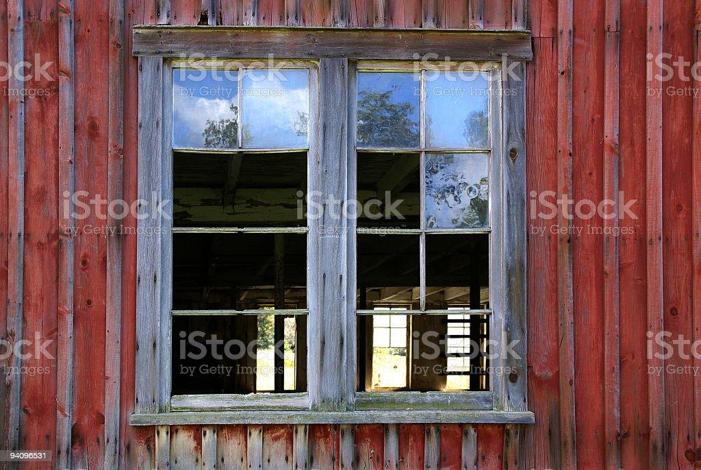 window into abandoned barn royalty-free stock photo