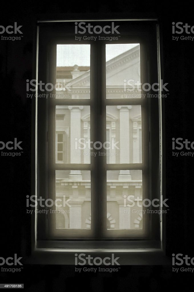 Window lookout mysterious scene royalty-free stock photo