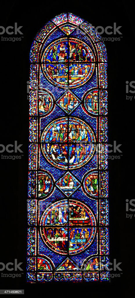 Window Mary Magdalene, Cathedral Notre Dame, Chartres, France stock photo