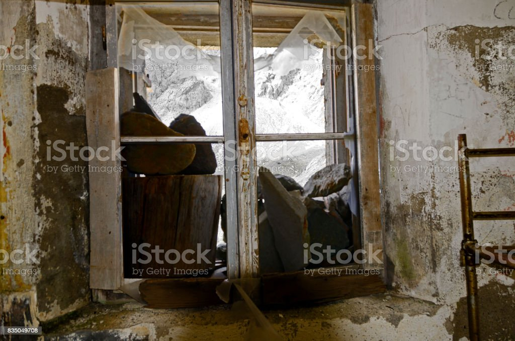 window of a former military accomodation stock photo