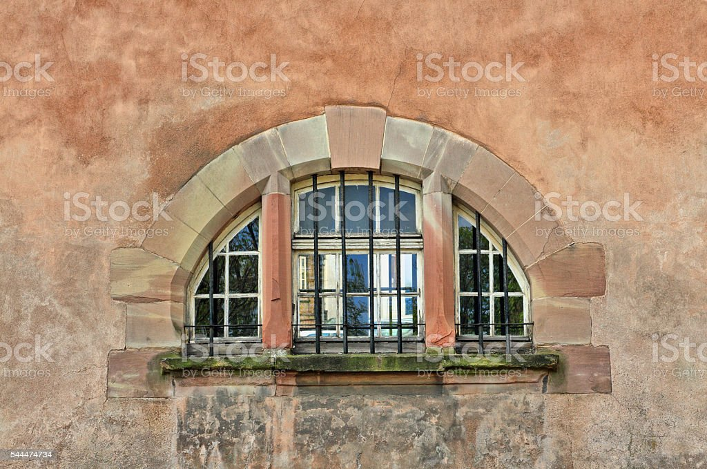 Window of a medieval building in the old town Strasbourg stock photo