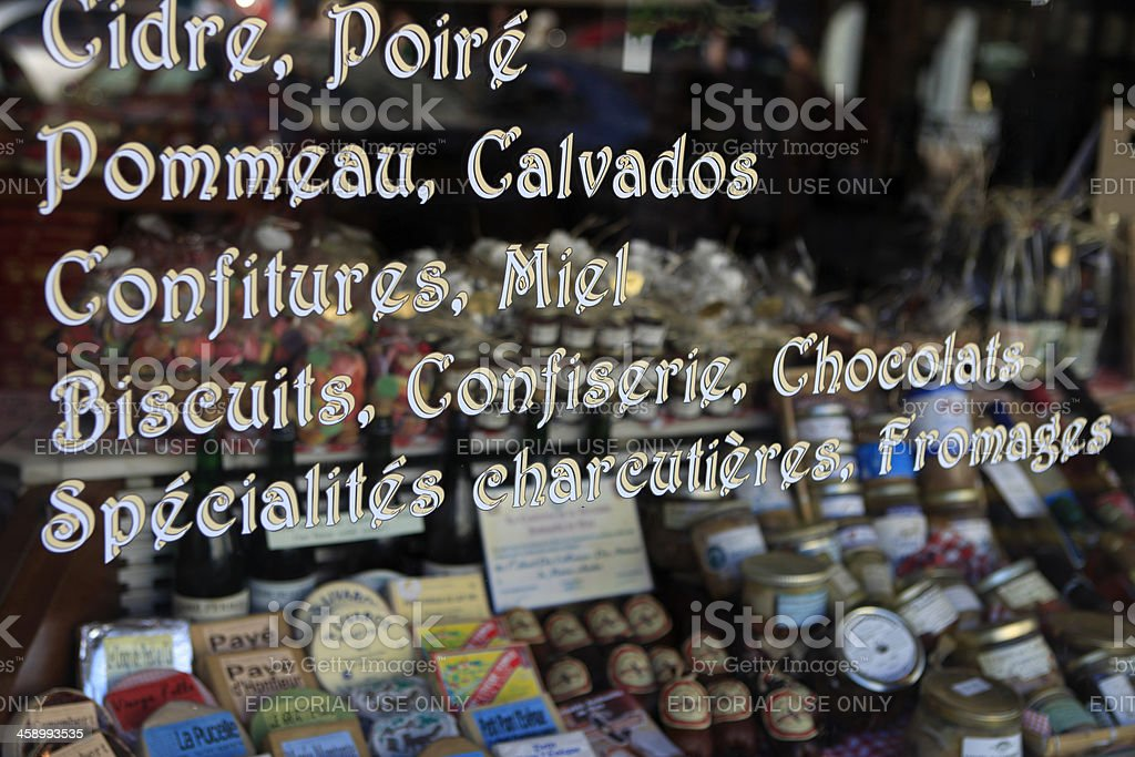 window of a shop in Honfleur selling products from Normandy stock photo