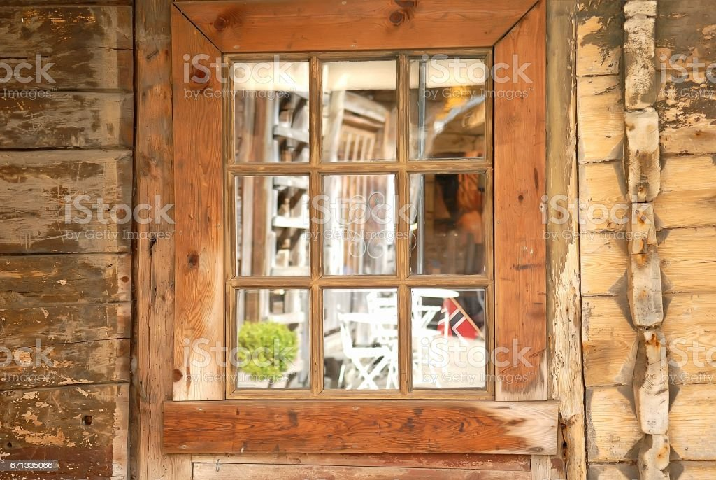 Window of a traditional Norwegian hut stock photo
