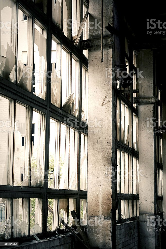 Window of abandoned factory royalty-free stock photo