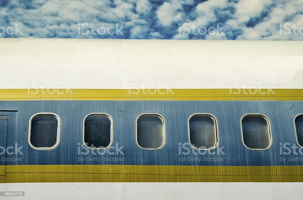 Window of airplane on blue sky background royalty-free stock photo