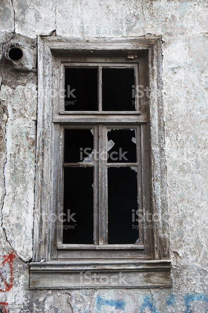 Window of an abandoned house royalty-free stock photo