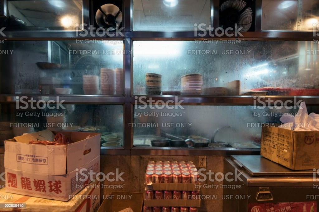 Window of an street side eatery in Hong Kong. stock photo