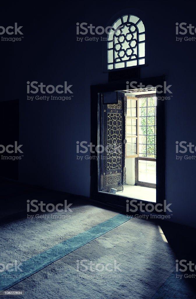 Window of Aydinoglu Mehmet Bey Mosque stock photo
