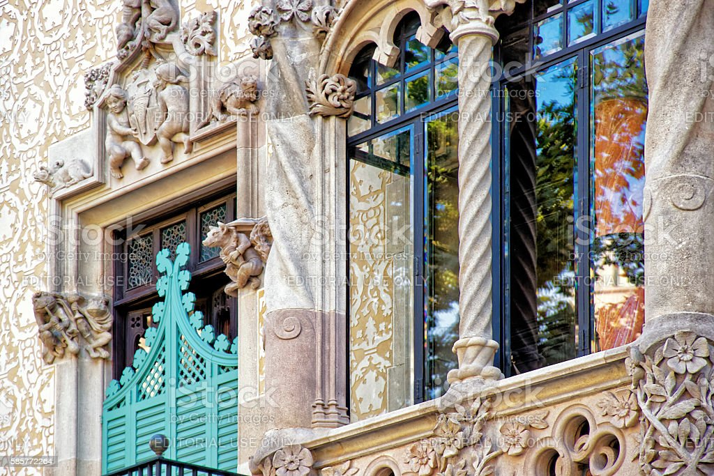 Window of Casa Amatller in Eixample district in Barcelona stock photo